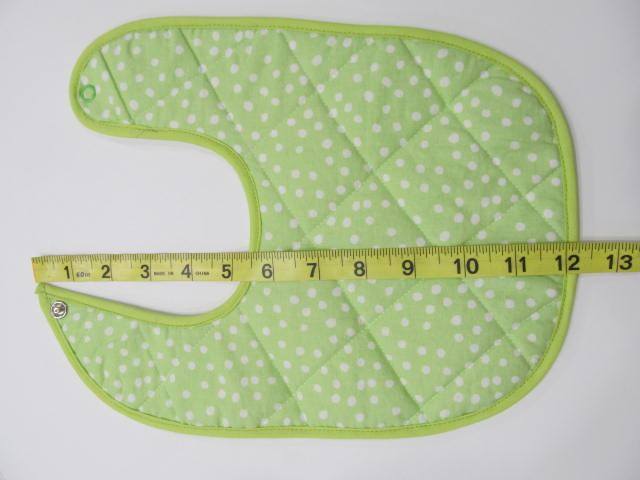 Baby Bib green with white dots
