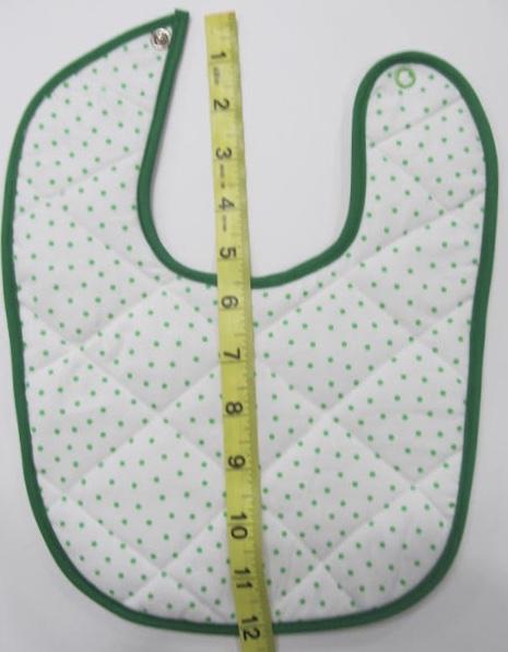 Baby bib white with green dots