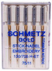 Schmetz Gold Titanium Embroidery Needles Size 75/11